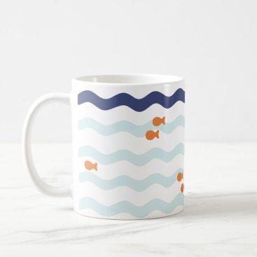 Beach Themed Goldfish Pattern Nautical Wave Mug
