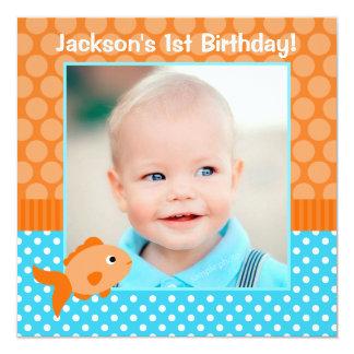 Goldfish Polka Dot 1st Birthday Photo 5.25x5.25 Square Paper Invitation Card