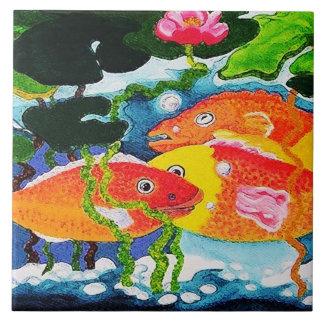 goldfish pond ceramic tile
