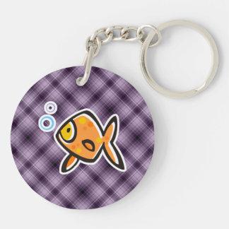 Goldfish púrpura llaveros