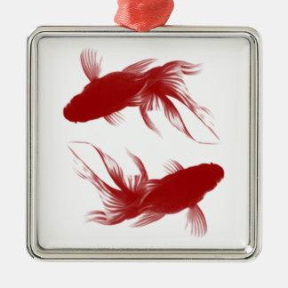 Goldfish rojo de Ryukin Adorno Navideño Cuadrado De Metal