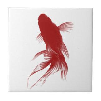 Goldfish rojo de Ryukin Azulejo Cuadrado Pequeño