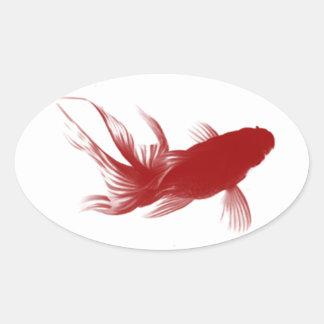 Goldfish rojo de Ryukin Calcomanía Óval Personalizadas