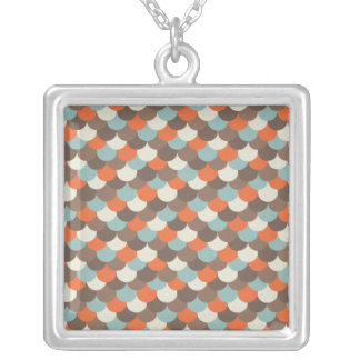 Goldfish Scales Vector Art Silver Plated Necklace