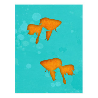 Goldfish silhouettes in turquoise water Postcard