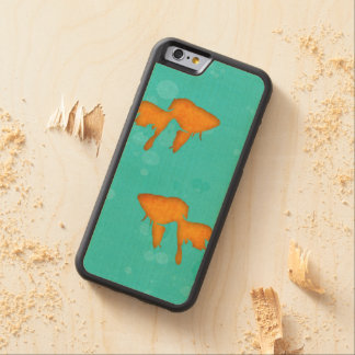 Goldfish silhouettes turquoise water byEDrawings38 Carved® Maple iPhone 6 Bumper