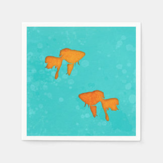 Goldfish silhouettes turquoise water Paper napkins