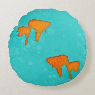 Goldfish silhouettes turquoise water Throw pillow Round Pillow