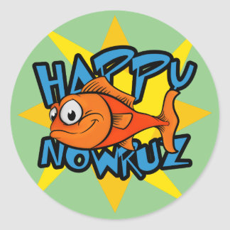 Goldfish Smiling Sun Persian New Year Nowruz Classic Round Sticker
