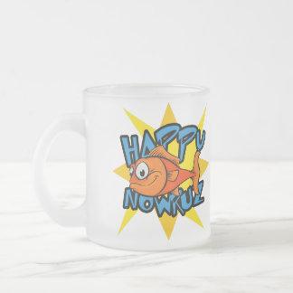 Goldfish Smiling Sun Persian New Year Nowruz Frosted Glass Coffee Mug