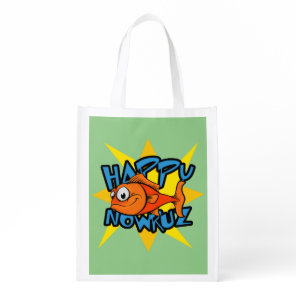 Goldfish Smiling Sun Persian New Year Nowruz Grocery Bag