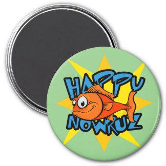 Goldfish Smiling Sun Persian New Year Nowruz 3 Inch Round Magnet