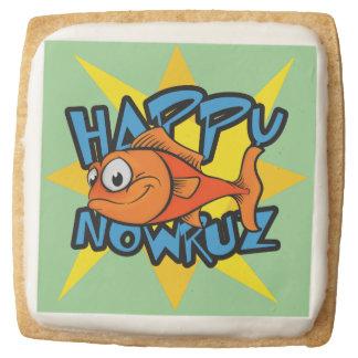 Goldfish Smiling Sun Persian New Year Nowruz Square Premium Shortbread Cookie
