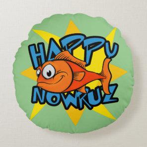 Goldfish Smiling Sun Persian New Year Nowruz Round Pillow