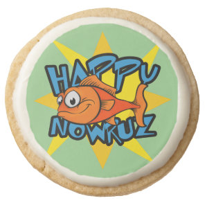 Goldfish Smiling Sun Persian New Year Nowruz Round Shortbread Cookie