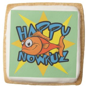 Goldfish Smiling Sun Persian New Year Nowruz Square Shortbread Cookie
