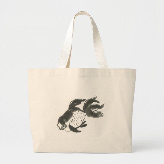 Goldfish, Sumi-e brush painting Large Tote Bag