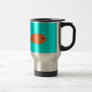 goldfish swimming in the ocean, art by kids :) 15 oz stainless steel travel mug
