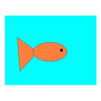 goldfish swimming in the ocean, art by kids :) postcard