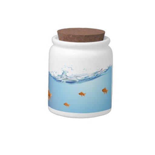 Goldfish under water aquarium candy dishes