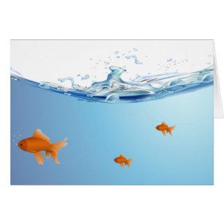Goldfish under water aquarium card