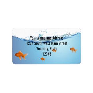 Goldfish under water aquarium label