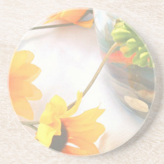 Goldfish Wedding Centerpiece Flowers, Faded ver. Sandstone Coaster