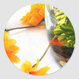 Goldfish wedding centerpiece sunflower photograph classic round sticker