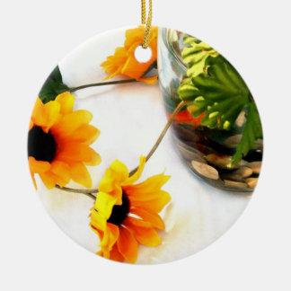 Goldfish wedding centerpiece sunflower photograph Double-Sided ceramic round christmas ornament