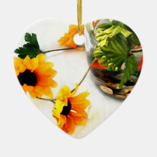 Goldfish wedding centerpiece sunflower photograph Double-Sided heart ceramic christmas ornament