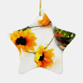 Goldfish wedding centerpiece sunflower photograph Double-Sided star ceramic christmas ornament