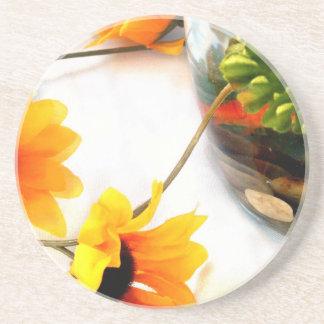 Goldfish wedding centerpiece sunflower photograph drink coasters