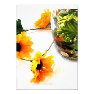 Goldfish wedding centerpiece sunflower photograph invites