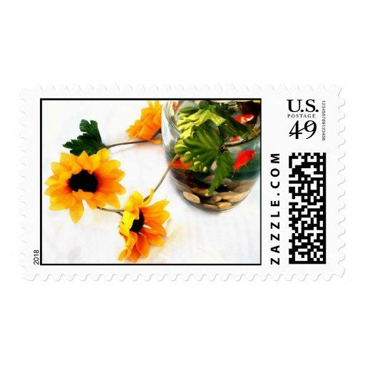 Goldfish wedding centerpiece sunflower photograph stamp