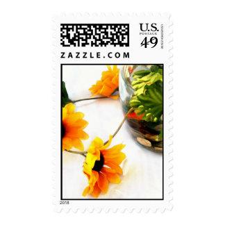 Goldfish wedding centerpiece sunflower photograph postage stamps