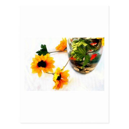 Goldfish wedding centerpiece sunflower photograph postcard