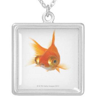 Goldfish with Big eyes Square Pendant Necklace