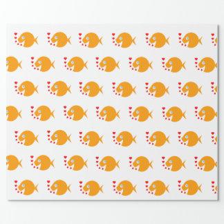Goldfish y corazones felices Giftwrap Papel De Regalo