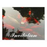 Goldfish y flor invitación 10,8 x 13,9 cm