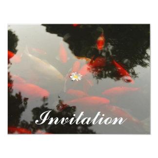 """Goldfish y flor invitación 4.25"""" x 5.5"""""""