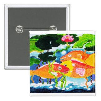 Goldfish y waterlily pin cuadrado