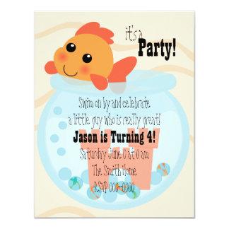 """Goldfishy en un cuenco invitación 4.25"""" x 5.5"""""""