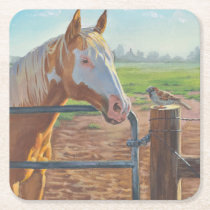 Goldie and the Sparrow Horse Paper Coaster