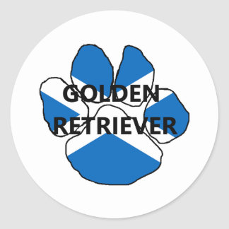 goldie name Scotland flag paw.png Classic Round Sticker