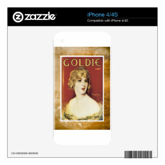 Goldie Song Gold Vintage Sheet Piano Music Decals For The iPhone 4S
