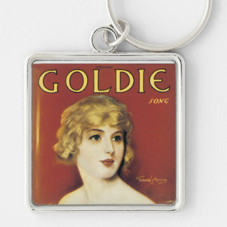 Goldie Song Vintage Song Sheet Cover Silver-Colored Square Keychain