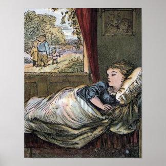 Goldilocks dormido en la cama del pequeño oso póster