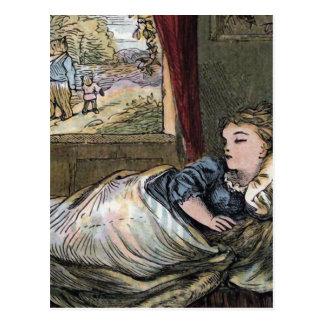 Goldilocks dormido en la cama del pequeño oso tarjeta postal