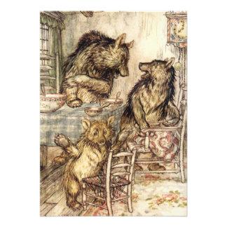 Goldilocks y las tres invitaciones de los osos comunicado personalizado