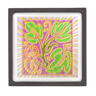 GoldLeaf Jewel Pattern : Metallic Look Colors Keepsake Box